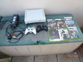 X-BOX 360 TWO CONTROLLERS &SIX GAMES BUNDLE