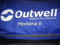 Outwell Montana 6 complete with carpet and front extention