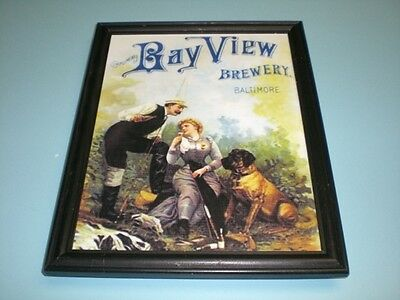 1910 BAY VIEW BREWERY BALTIMORE FRAMED COLOR AD PRINT