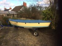 12ft GRP open boat c/w trailer, 2hp/2-stroke Yamaha outboard and boat cover