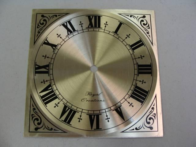 "NEW GOLD TRIM Roman Numeral Clock Dial Face by Royal Creations 7"" square"