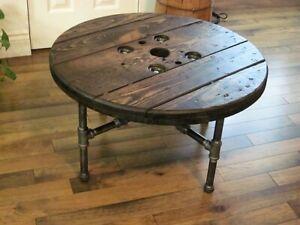 Magnifique Table de Salon de Style Industriel Antique