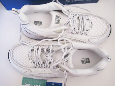 - Drew Men's Jeremy White/Grey Leather/Mesh Combo Walking Shoes 7 (6E)