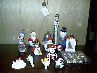 Lot of 28 Snowmen Ornaments Figurine Snow Folk Flurryville Hallmark Enesco Boyds