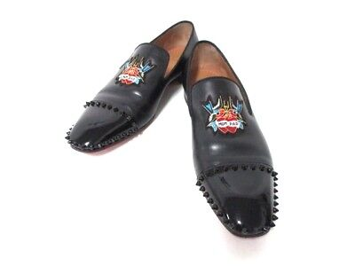 Auth CHRISTIAN LOUBOUTIN Black Leather Patent Leather Shoes Men