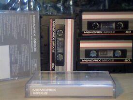 9x DIFFERENT MEMOREX CASSETTE TAPES 1987-1990. MRXI-S. CRXII, CRXII-S, DBS, DBSI, DBS+ C60/90/100