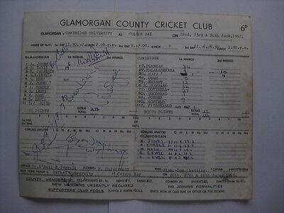 GLAMORGAN v CAMBRIDGE UNIVERSITY 1968 Cricket Scorecard Signed By 10 Players