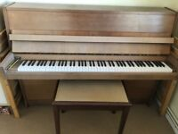 Upright Petrof piano and piano stool for sale