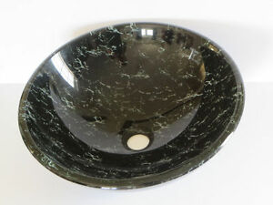MagickWoods Black & White Marble Design Glass Vessel Sink 16.5""