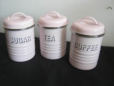 3 Typhoon Vintage Kitchen Pink Metal Cannisters, Coffee Tea Sugar