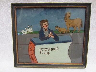 """HINTERGLASBILD - VOTIV-BILD """"EX VOTO"""" von 1849 - 18 x 15 cm - Oberbayern"""