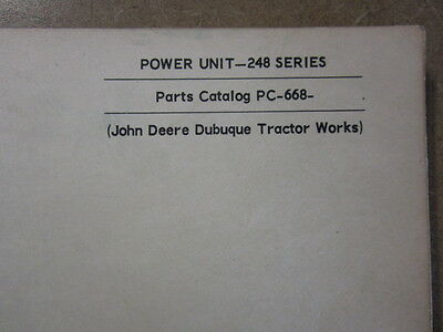 John Deere 248 Engine Power Unit Parts Manual