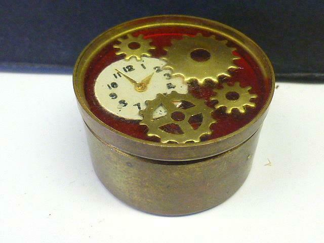 Vintage Watch Part top Brass Pill Box Trinket