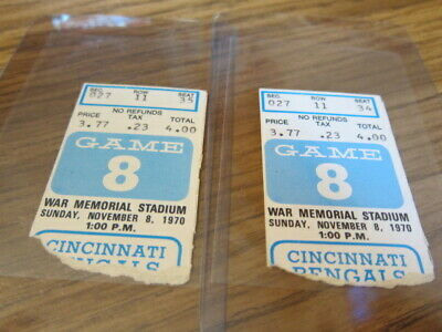 2 - 1970 Ticket Stubs Buffalo Bills vs. Cincinnati Bengals 11/08/1970