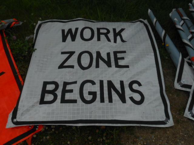 "EASTERN VINYL ROLL-UP STREET SAFETY SIGN *WORK ZONE BEGINS* 47""X47"""