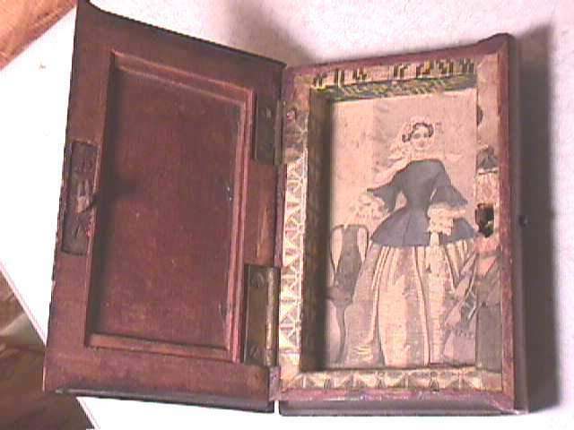 Antique Folk Art Wood Book Secret Box