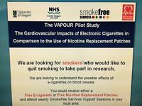 Looking for smokers who would like to quit and take part in research with e-cigarette or patches