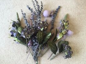 Purple flower arrangement. Dried, Plastic and Silk flowers. Collect from Fulham