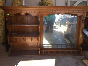 Solid Pine Hutch Top with Mirror