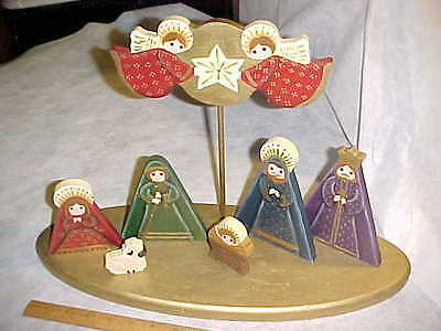 NATIVITY SET Wood Hand Painted Gold Tole 80's 1980's NICE Handmade Indiana