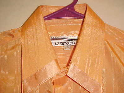 NEW MENS ALBERTO CELINI ORANGE TONE ON TONE SHIRT MADE IN ITALY FRENCH CUFF  SM. for sale  Westerly