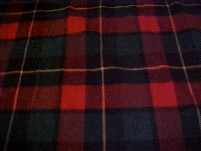 VINTAGE PENDLETON WOOL BLANKET, RED, BLACK AND GREEN PLAID