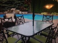 Outdoor table and six chairs