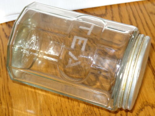 Vintage Sellers Hoosier Paneled Clear Glass TEA Canister
