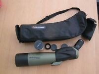 celesteron ultima spotting scope. 20-60x80. Used on one birding trip only. perfect