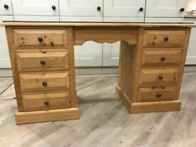 Pine dressing table/ desk with glass top.