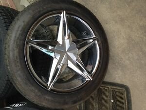 4 chrome 18 inch rims with tires
