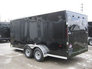 "ENCLOSED 7 x 16 +30 "" VNOSE UTILITY TRAILER /REAR RAMP"