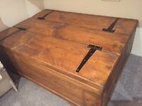 Vintage chest/trunk coffee table handmade in Northumberland of reclaimed pine wood