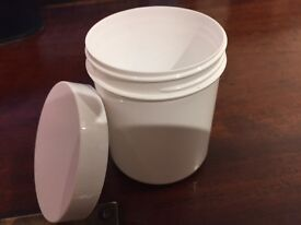 350 x 100ml White Screw Top Cylindrical Plastic Containers