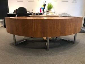 Rare Curved Desk Designed by Leif Jacobsen, 1960's