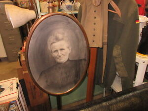 antique brass oval frame charcoal old lady picture