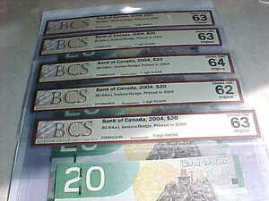 Five Choice UNC 2004 RADAR $20 With Same Prefix EYK Rare!! London Ontario image 1