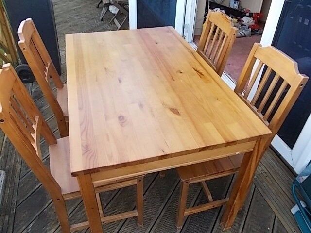 Farmhouse style pine table and chairs
