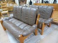 Retro Vintage Ekornes Leather Suite on Hardwood Teak Frame,Can Deliver