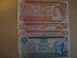 4 circulated canada paper notes in very good condition3 -$2 pap