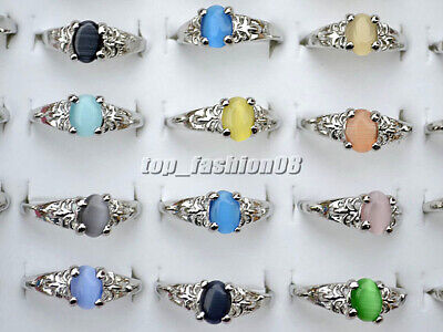 Cat Silver Plated Ring (FREE Wholesale Lots 50Pcs Colourful Natural Cat Eye Gemstone Silver Plated Rings )