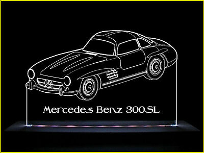 Mercedes Benz 300SL LED Acrylic Edge Lit Sign+AC adaptor+Remote Control