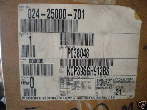 GE General Electric Motor KCP39SGH913BS NEW 02425000701