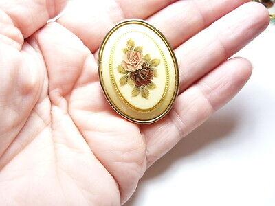 Vintage Gold Tone Metal Oval Cream Pink Red Rose Flower Brooch