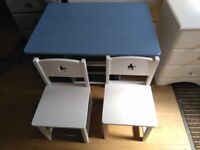 CHILD'S TABLE AND CHAIR SET WITH MATCHING TOY TRUNK SOLD INDIVIDUALLY