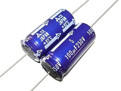 2pcs New 100uf 250v Axial Electrolytic Capacitors Tube Amp Amplifier Nice