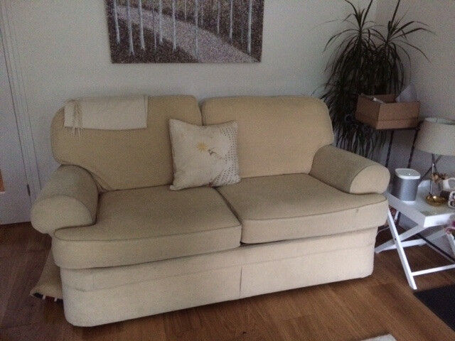 Marks & Spencer, Cream, 2 seater Sofa bed, good condition, minor mark on arms rest, collection only