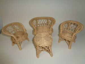 Wicker doll chairs, couch and table