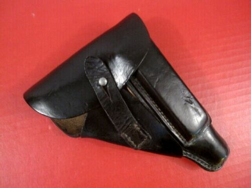 WWII German Police Black Leather Flap Holster for Walther PP Pistol - NICE