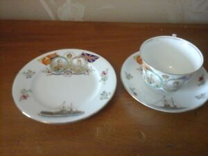 Vintage King George V & Queen Mary 1911 Cup, Saucer & Plate